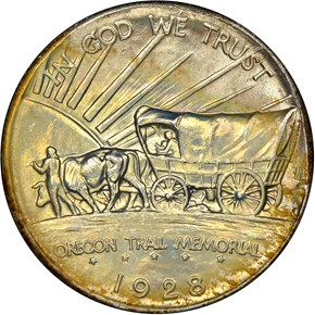 1928 OREGON TRAIL 50C MS reverse