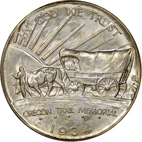 1934 D OREGON TRAIL 50C MS reverse