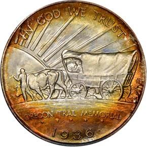 1936 OREGON TRAIL 50C MS reverse