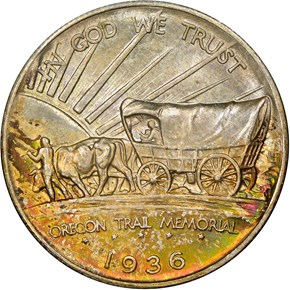 1936 S OREGON TRAIL 50C MS reverse