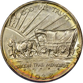 1938 OREGON TRAIL 50C MS reverse