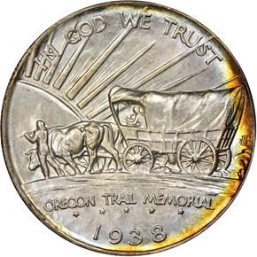 1938 D OREGON TRAIL 50C MS reverse