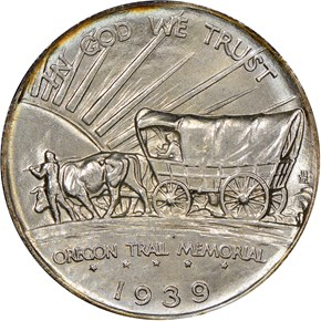 1939 OREGON TRAIL 50C MS reverse