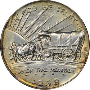 1939 D OREGON TRAIL 50C MS reverse