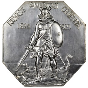 1925 NORSE AMERICAN LARGE FORMAT SILVERED MEDAL MS obverse
