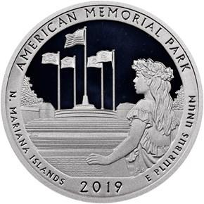 2019 S Silver American Memorial Park 25C PF reverse