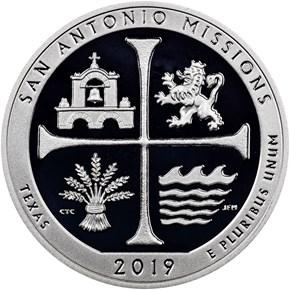 2019 S Silver San Antonio Missions 25C PF reverse