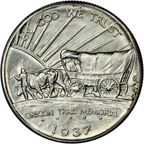 1937 D OREGON TRAIL 50C MS reverse