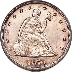 1876 CC 20C MS obverse