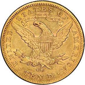 1884 CC $10 MS reverse