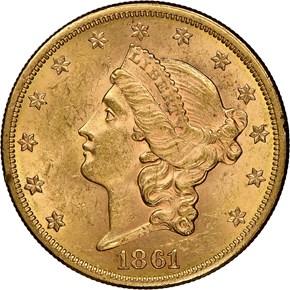 1861 $20 MS obverse