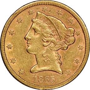 1865 $5 MS obverse