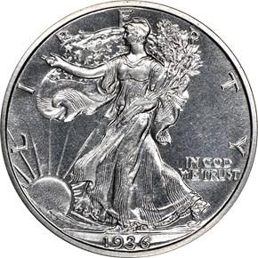 1936 50C PF obverse