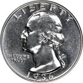 1936 25C PF obverse