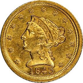 1843 C LARGE DATE $2.5 MS obverse