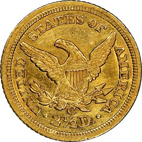 1843 C LARGE DATE $2.5 MS reverse