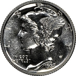 1937 10C PF obverse