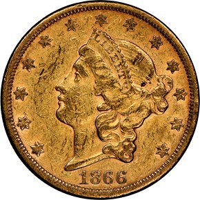 1866 S MOTTO $20 MS obverse