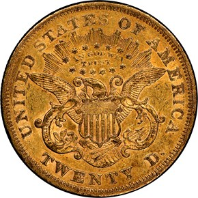 1866 S MOTTO $20 MS reverse