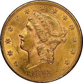 1893 $20 MS obverse