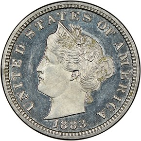 1883 J-1704 5C PF obverse