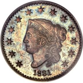 1831 1C PF obverse