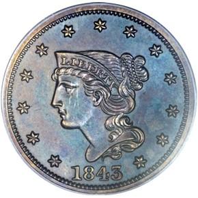 1843 1C PF obverse