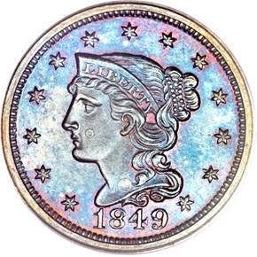1849 1C PF obverse