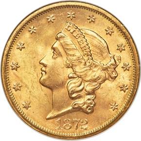 1872 S $20 MS obverse
