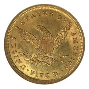 1839 $5 MS reverse