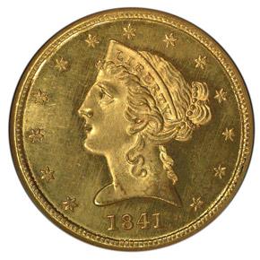 1841 $5 MS obverse