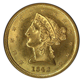 1842 $5 MS obverse
