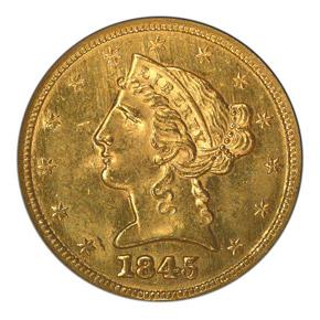 1845 $5 MS obverse