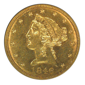 1846 $5 MS obverse