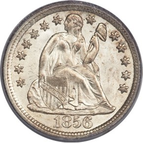 1856 LARGE DATE 10C MS obverse