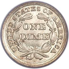 1856 LARGE DATE 10C MS reverse