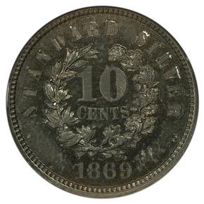 1869 J-697 10C PF reverse