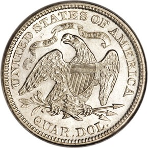 1873 CL 3 NO ARROWS 25C MS reverse
