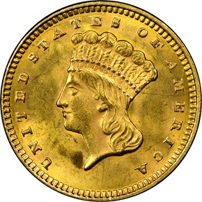 1873 OPEN 3 G$1 MS obverse