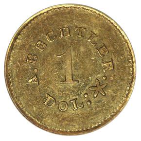 (1842-50) A.BECHTLER 27G, 21C, PLAIN EDGE G$1 MS obverse