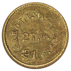 (1842-50) A.BECHTLER 27G, 21C, PLAIN EDGE G$1 MS reverse