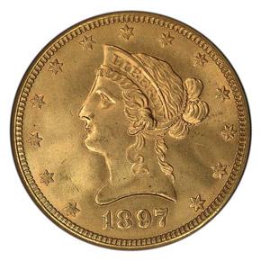 1897 O $10 MS obverse