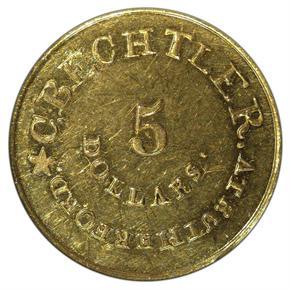(1837-42) C.BECHTLER 128G, 22C, NO COLON $5 MS reverse