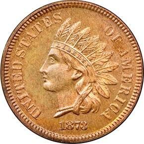 1873 CLOSED 3 1C PF obverse