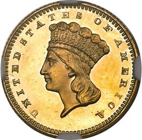 1860 G$1 PF obverse