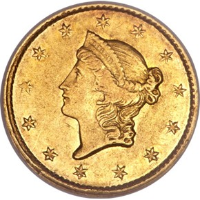 1849 C OPEN WREATH G$1 MS obverse