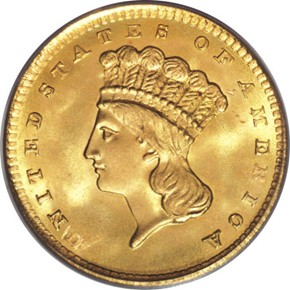1856 G$1 MS obverse