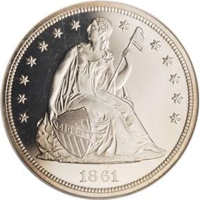1861 G$1 PF obverse