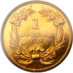 1862 G$1 PF reverse