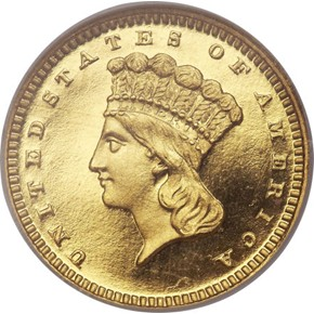 1864 G$1 PF obverse